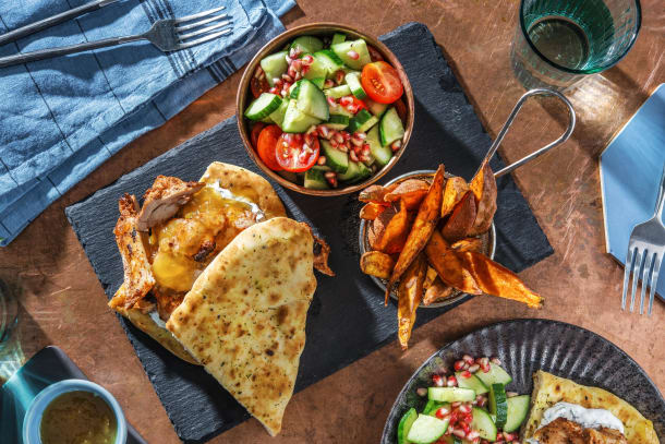 Tandoori Chicken Naan-wich and Spiced Sweet Potato Wedges
