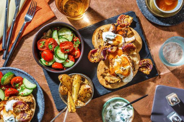 Tandoori Style Chicken on Naans with Raita and Mango Chutney